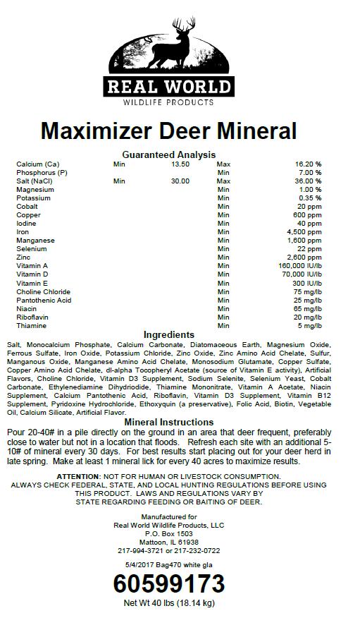 Custom deer mineral ingredients tag
