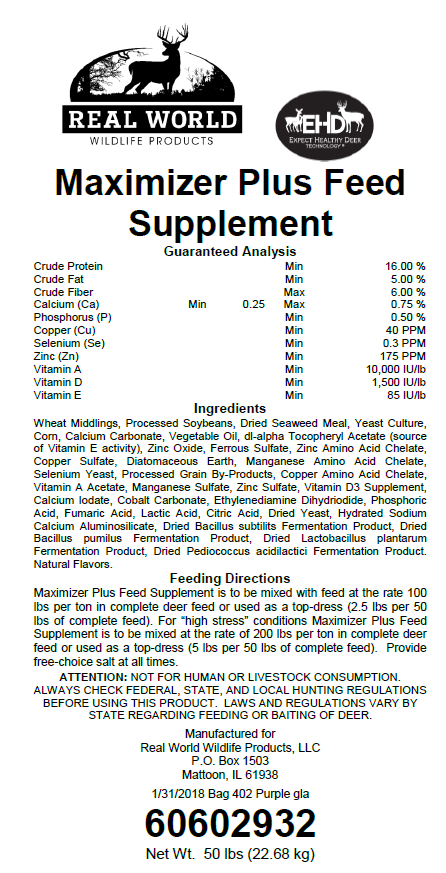 Maximizer Plus Feed Supplement